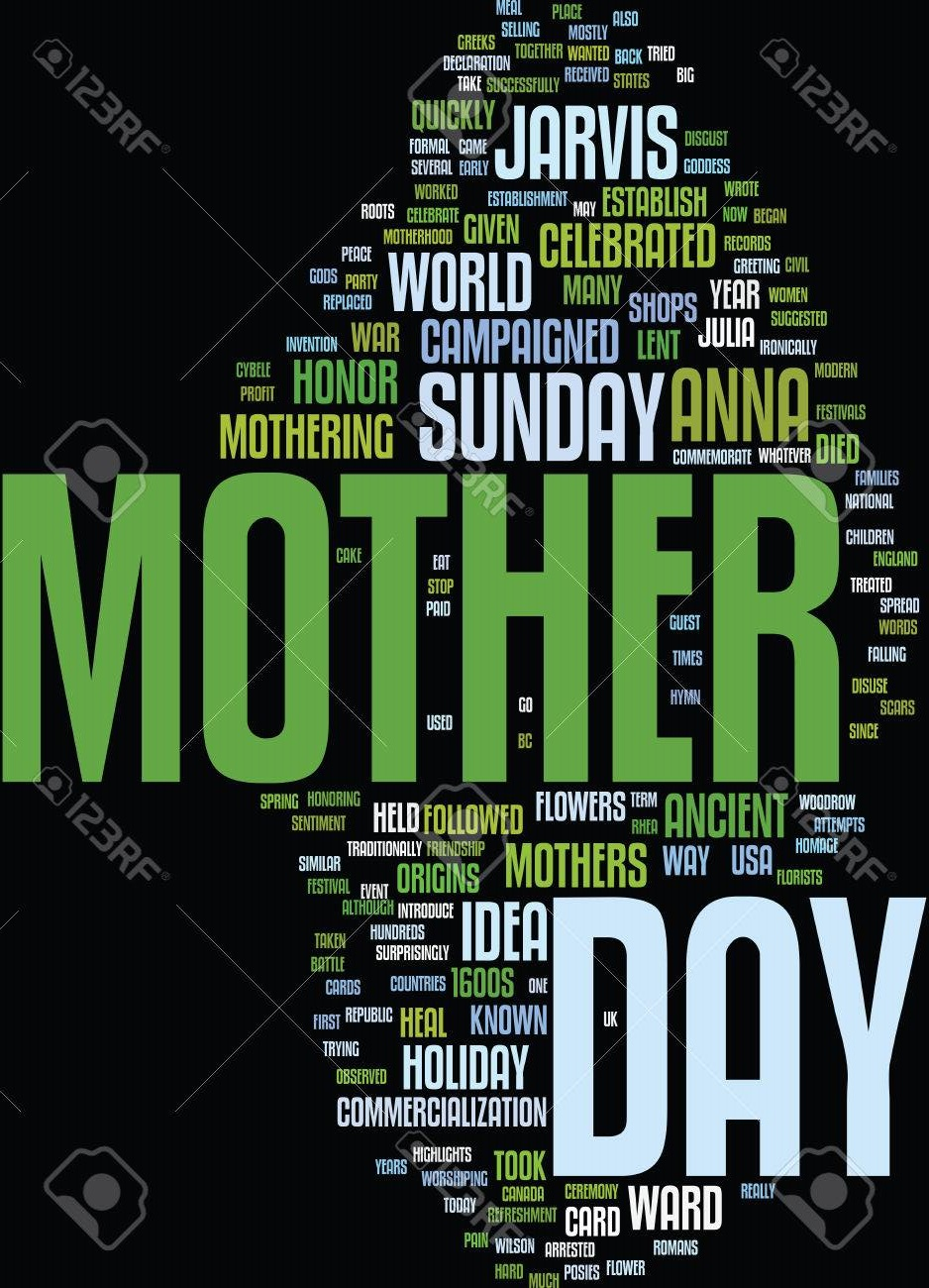 THE ORIGINS OF MOTHER S DAY Text Background Word Cloud Concept