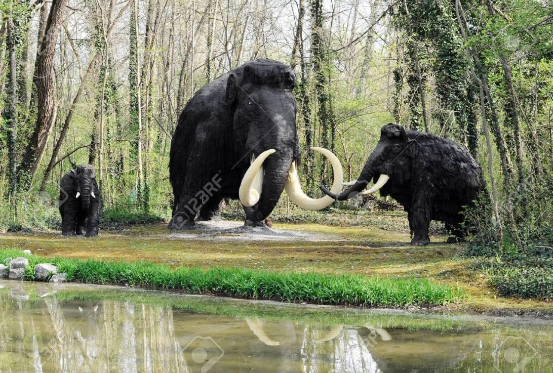 39046720-tutti-i-modelli-di-extinct-wooly-mammoth-famiglia-vicino-a-riva-in-tema-pre-historic-park